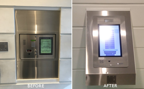 before and after mircom intercom installation in condo