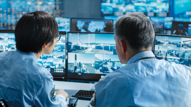 security guards using video analytics software